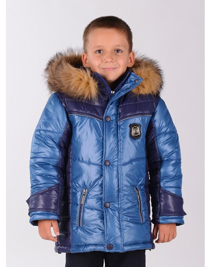 Зимняя куртка для мальчика Деним Размер 134 см