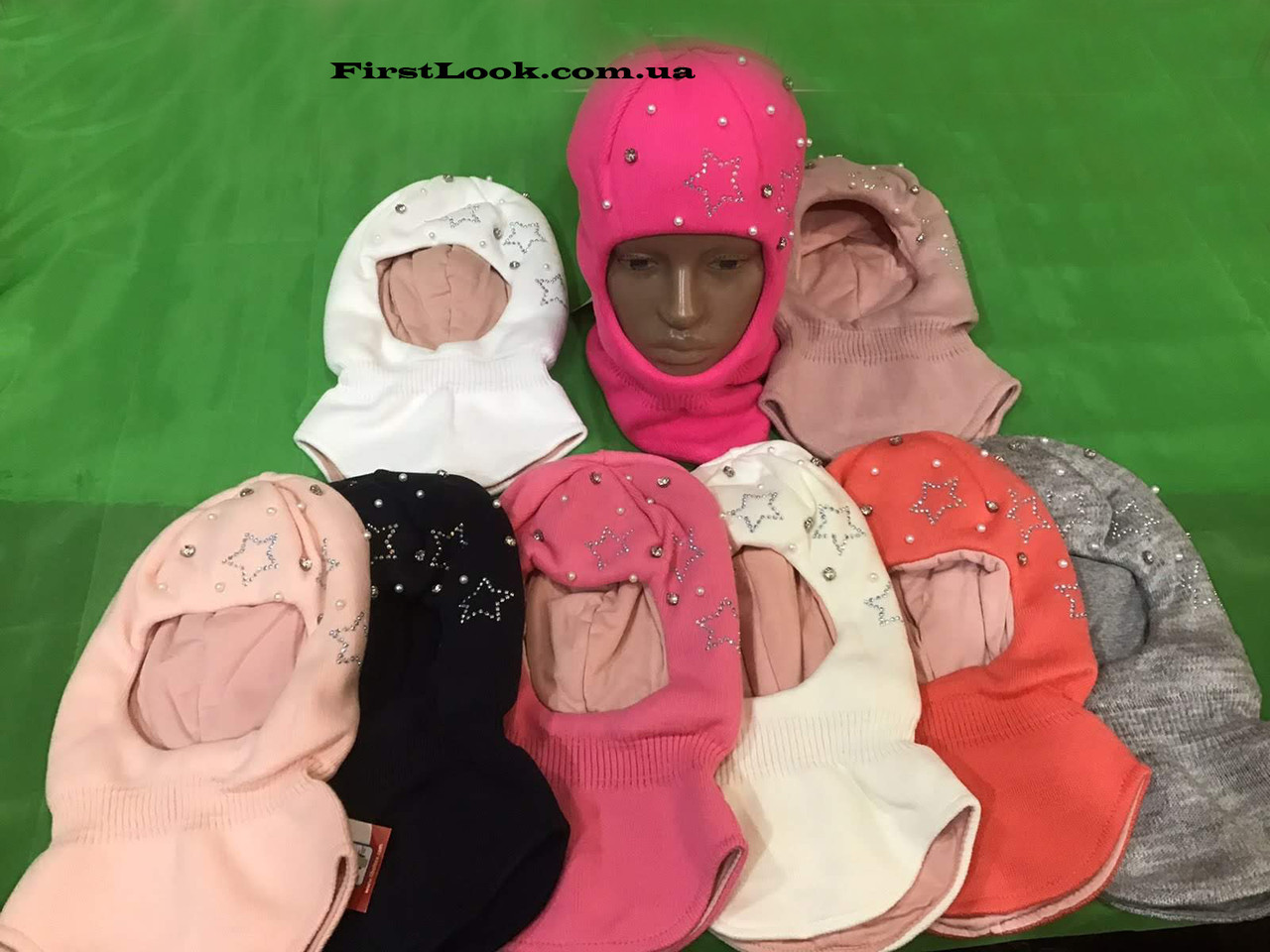 Детская зимняя шапка-шлем на девочку размер (3-4года)