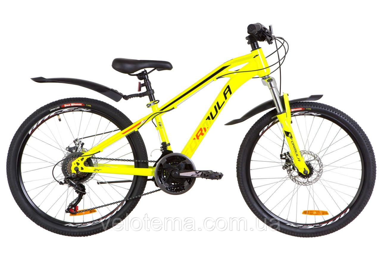 """Велосипед 24"""" Formula DAKAR AM 14G  DD  рама-13"""" St желтый  с крылом Pl 2019"""