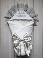 """Зимний конверт-одеяло на выписку """"Серая корона"""" (махра)"""