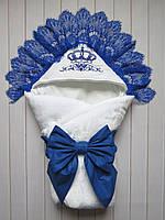 "Зимний конверт-одеяло на выписку ""Синяя корона"" (махра)"