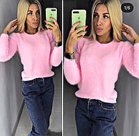 Женский зимний теплый свитер травка белый розовый минт голубой бордо электрик у42-46, фото 1