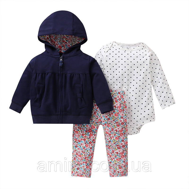 Комплект для девочки 3 в 1 Цветы и бантики Berni