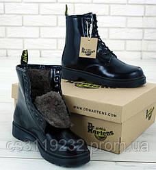 Женские ботинки зимние Dr Martens 1460 (мех) (черный)