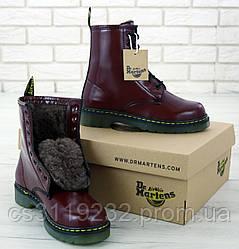 Женские ботинки Dr Martens 1460 зимние(мех) (коричневый)