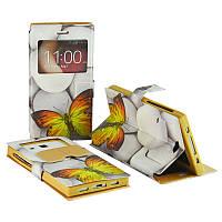 """Чехол универсальный книжка GOLD 5"""" дюйма № 4114 Жёлтая бабочка"""