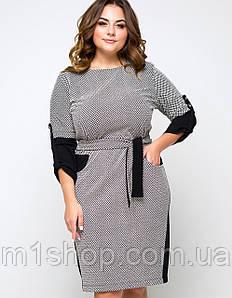 Женское черно-белое платье с узорами для полных (Вербания lzn)