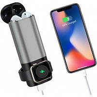 Power Bank TTech 3 in 1 wireless для Airpods, Apple Watch, USB 5200 mAh Gray