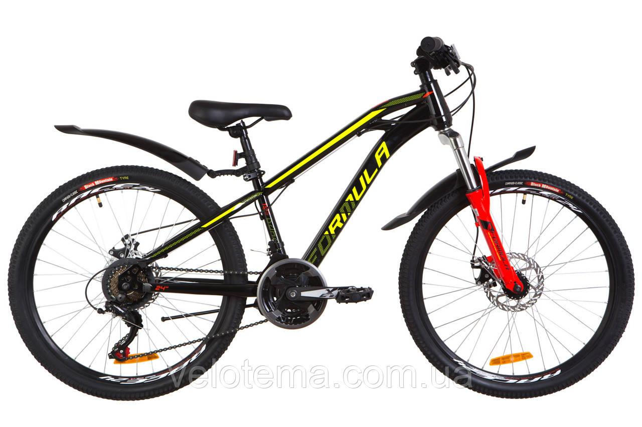 """Велосипед 24"""" Formula DAKAR AM 14G  DD  рама-13"""" St черно-красный с желтым  с крылом Pl 2019"""