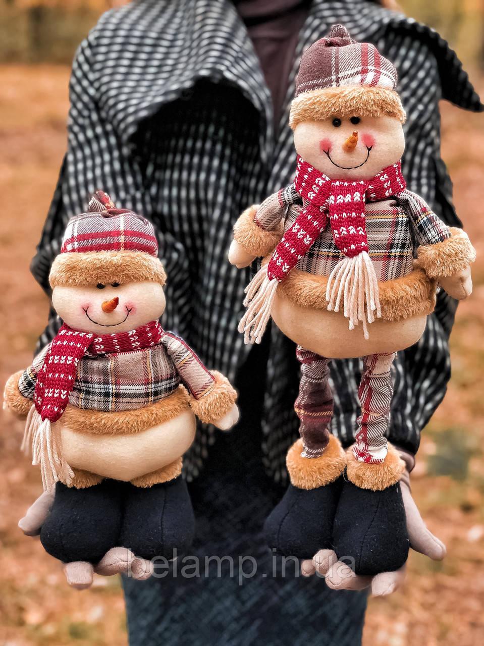 Новогоднее украшение фигурка под елку Снеговик с выдвижными ногами