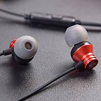 Наушники вакуумные с микрофоном проводные Cokike M3 Красный
