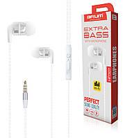 Наушники проводные для телефона вакуумные mini-jack 3,5мм BRUM HF007 Perfect Sound Белый