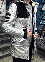 Мужская зимняя теплая куртка на синтепоне белая S M L XL