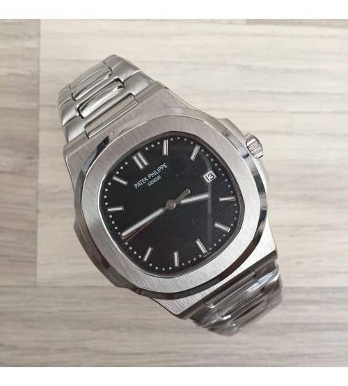 Мужские часы Patek Philippe Nautilus Silver-Black, элитные часы Patek Philippe реплика ААА