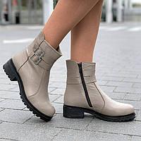 Ботинки женские зимние кожаные бежевые, полуботинки  (код 9935) - жіночі черевики зимові шкіряні бежеві, фото 1