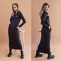 """Теплое платье с капюшоном """"Лола"""" / трикотаж джерси с начесом / Украина, фото 1"""