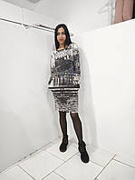 Стрейчевое женское платье с карманами из двунитки