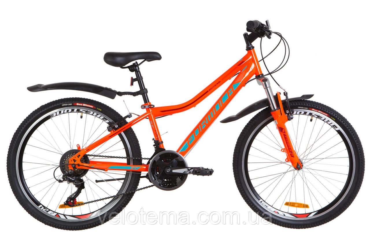 """Велосипед 24"""" Formula FOREST AM 14G Vbr рама-12,5"""" St оранжево-бирюзовый с крылом Pl 2019"""