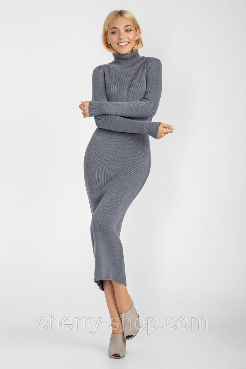Идеальное базовое платье серого цвета из хлопковой пряжи