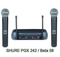 Радиобаза PGX242 с двумя микрофонами Beta 58a, для вокалистов/ведущих, в пластиковом кейсе