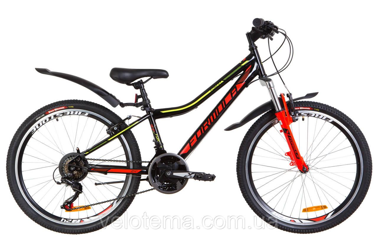 """Велосипед 24"""" Formula FOREST AM 14G Vbr рама-12,5"""" St черно-красный с желтым с крылом Pl 2019"""