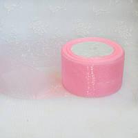 Лента из органзы, 5 см,  цвет розовый