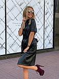Женское трендовое платье из эко-кожи на замшевой основе с поясом  (в расцветках), фото 8