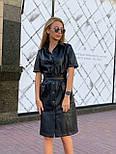 Женское трендовое платье из эко-кожи на замшевой основе с поясом  (в расцветках), фото 6