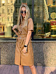 Женское трендовое платье из эко-кожи на замшевой основе с поясом  (в расцветках), фото 2