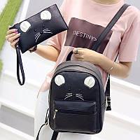 Рюкзак  женский городской для девочек, девушек Мышка с клатчем, набор  (черный)