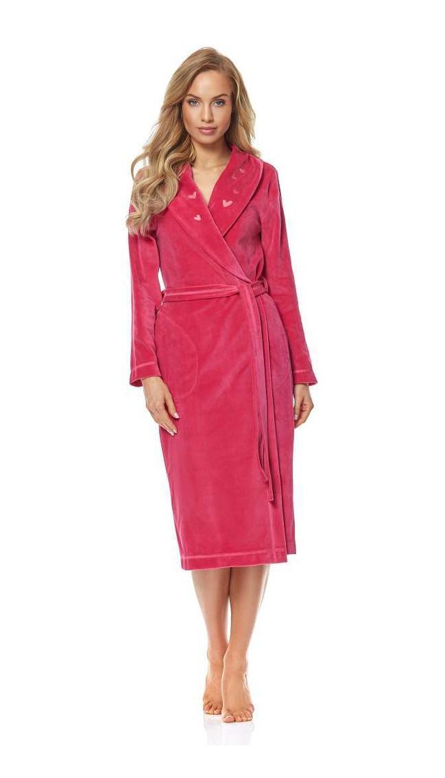 Домашній жіночий довгий велюровий халат на запах LL 9121
