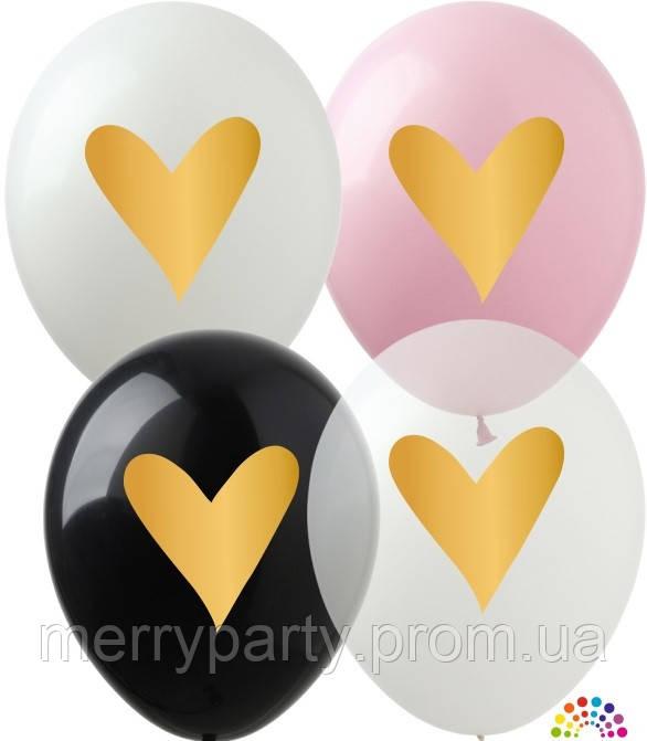 """12"""" (30 см) Золоте серце пастель, кристал асорті 1 шт. 1 стор. Арт-студія """" SHOW Україна"""