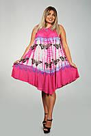 Розовое платье - разлетайка (ламбада), с рисунком ручной работы и вышивкой, на 48-60 размеры, фото 1