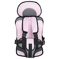 Портативное бескаркасное детское автокресло. Кресло автомобильное для детей (серое с розовым)