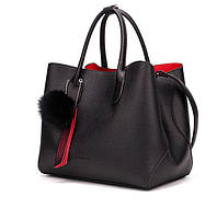 Сумка тоут женская в стиле Prada с красной подкладкой и съемным внутренним отделением (черная)