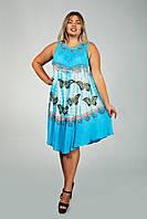 Фиолетовое платье - разлетайка (ламбада), с рисунком ручной работы и вышивкой, на 48-60 размеры, фото 1