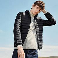 Пуховик мужской укороченный еврозима. Куртка демисезонная на утином пуху, размер S/М (черная)