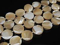 бусы  из перламутра,монета цвет топленого молока, фото 1