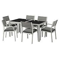 IKEA SJALLAND Садовый стол и 6 стульев, стекло (792.665.20)