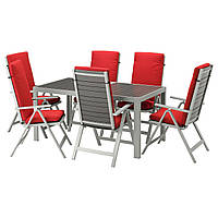 IKEA SJALLAND Садовый стол и 6 раскладных стульев, темно-серый (792.669.16)