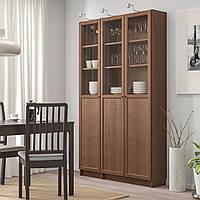 IKEA BILLY/OXBERG Книжный шкаф с дверями, шпон коричневого ясеня, стекло (292.817.83)