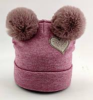 Оптом шапка детская с 52 по 58 размер ангора помпонами шапки детские головные уборы опт, фото 1