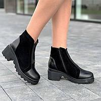 Ботинки женские зимние кожаные замшевые черные, полуботинки (код 9939)  - черевики жіночі зимові замшеві чорні, фото 1