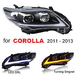 Передние фары LED тюнинг оптика Toyota Corolla E150 ксенон стиль Лексус