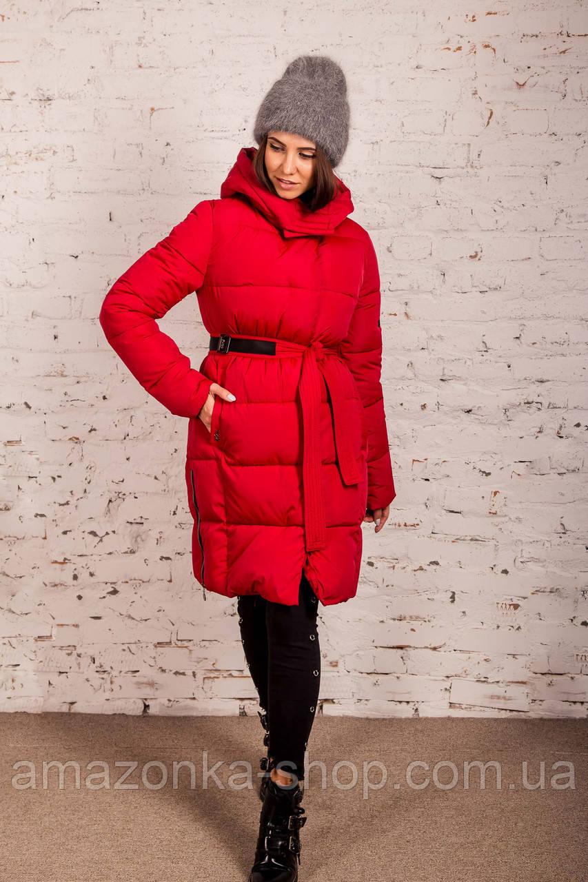 Женская зимняя куртка с пояском сезона 2019-20 - (модель кт-4)