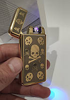 Электроимпульсная зажигалка SKULL USB X2, фото 1