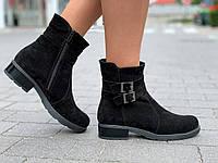 Ботинки женские зимние замшевые черные, полуботинки (код 9931) - черевики жіночі зимові замшеві чорні, фото 1