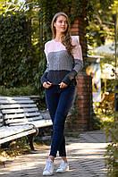 Свитер женский трёхцветный в расцветках 51328, фото 1
