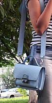 574-2 Сумка женская натуральная кожа, кросс-боди с широким ремнем синяя с тиснением, фото 2