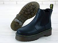 """Ботинки женские осенние кожаные Dr. Martens Jadon """"Черные"""" без шнурков толстая подошва размер 36-41, фото 1"""